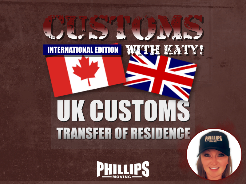 UK Customs Transfer of Residence